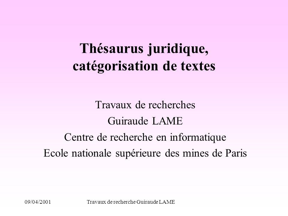 Thésaurus juridique, catégorisation de textes