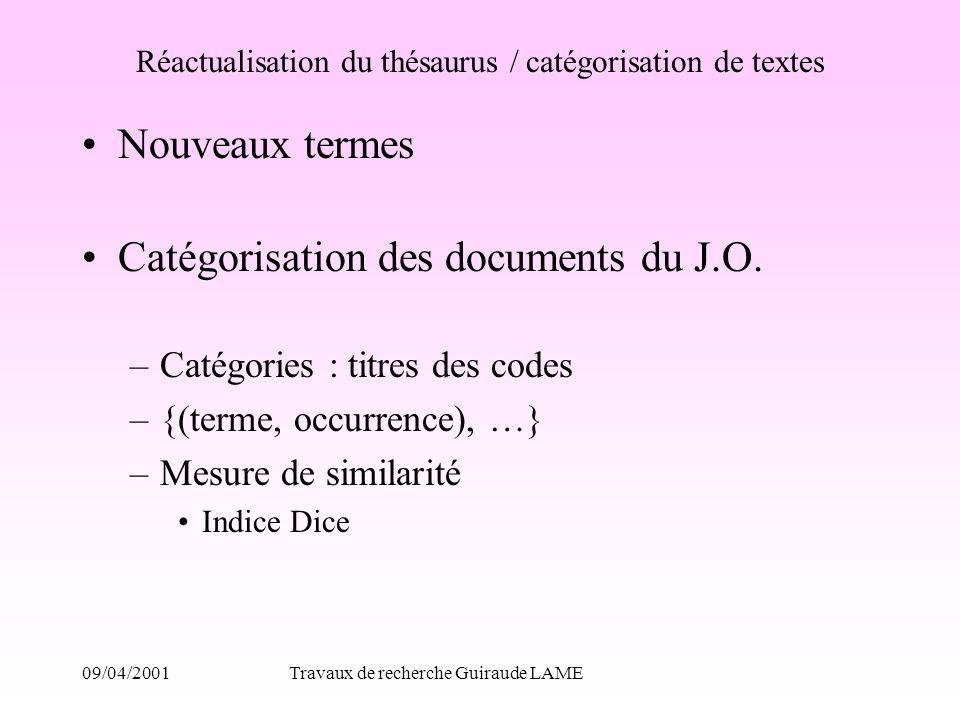 Réactualisation du thésaurus / catégorisation de textes