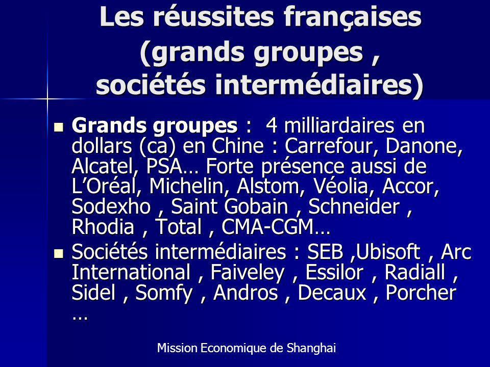 Les réussites françaises (grands groupes , sociétés intermédiaires)