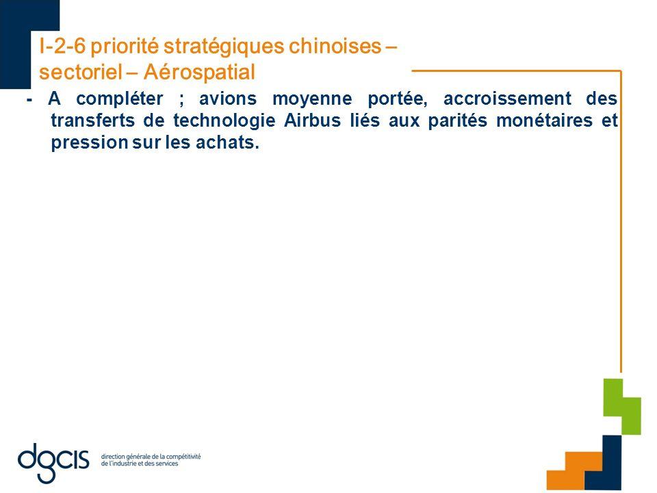 I-2-6 priorité stratégiques chinoises – sectoriel – Aérospatial