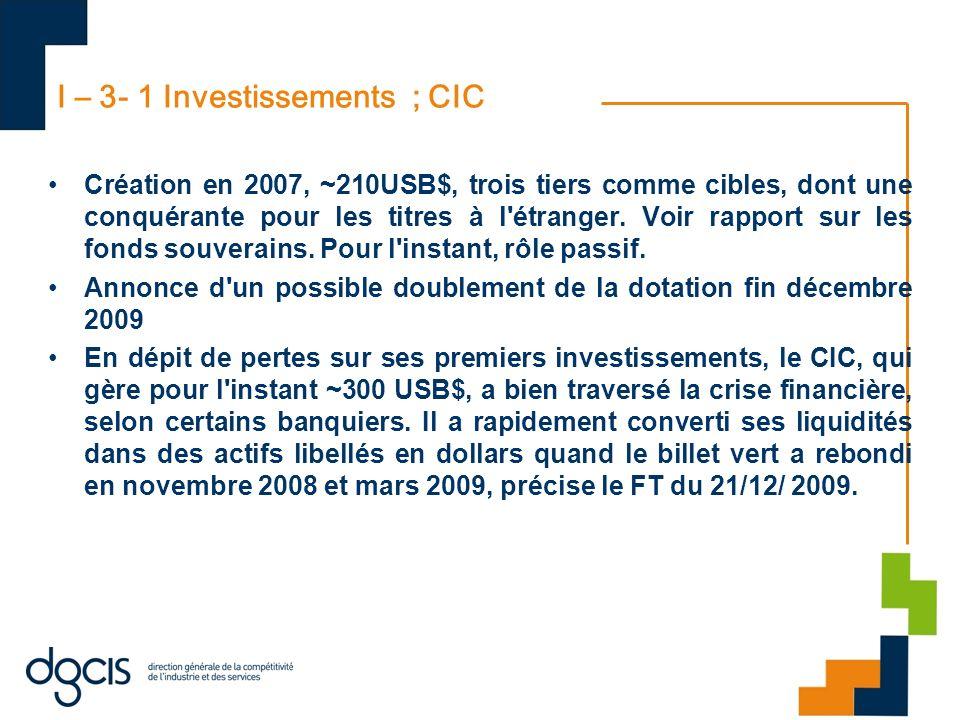 I – 3- 1 Investissements ; CIC