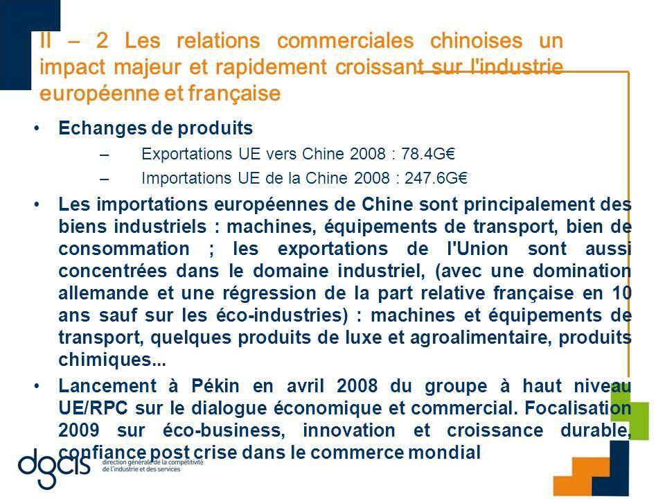 II – 2 Les relations commerciales chinoises un impact majeur et rapidement croissant sur l industrie européenne et française