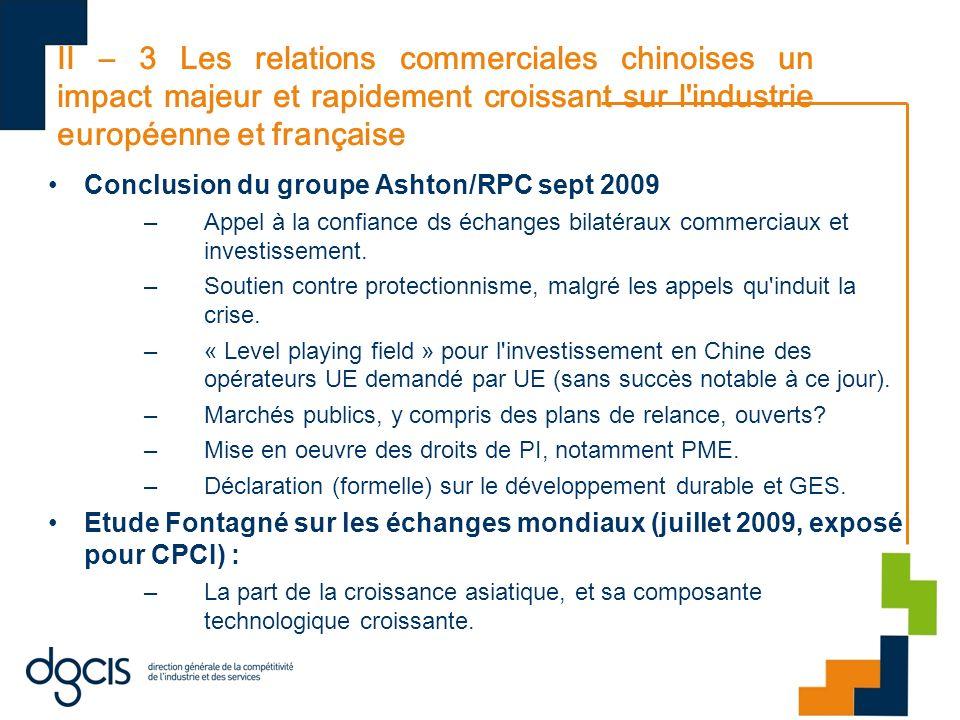II – 3 Les relations commerciales chinoises un impact majeur et rapidement croissant sur l industrie européenne et française