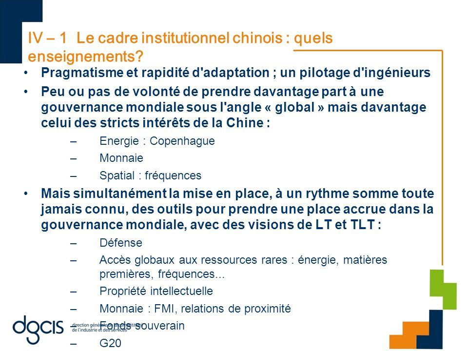 IV – 1 Le cadre institutionnel chinois : quels enseignements