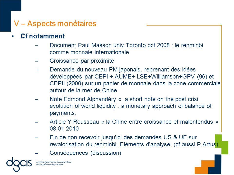 V – Aspects monétaires Cf notamment