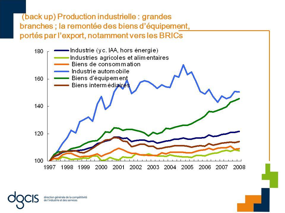 (back up) Production industrielle : grandes branches ; la remontée des biens d'équipement, portés par l'export, notamment vers les BRICs