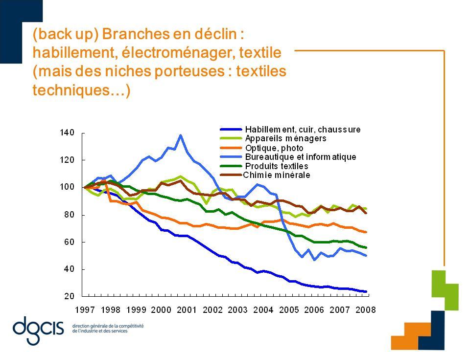 (back up) Branches en déclin : habillement, électroménager, textile (mais des niches porteuses : textiles techniques…)
