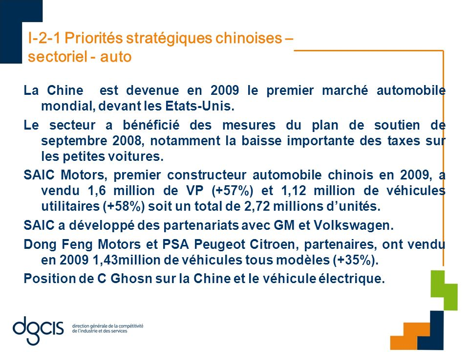I-2-1 Priorités stratégiques chinoises – sectoriel - auto