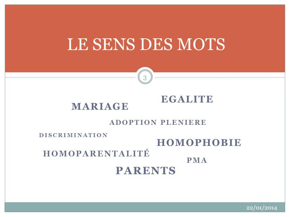 LE SENS DES MOTS parents EGALITE MARIAGE HOMOPHOBIE Homoparentalité