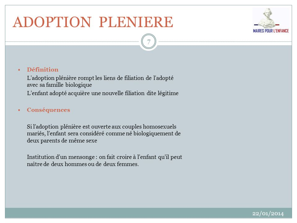 ADOPTION PLENIERE Définition