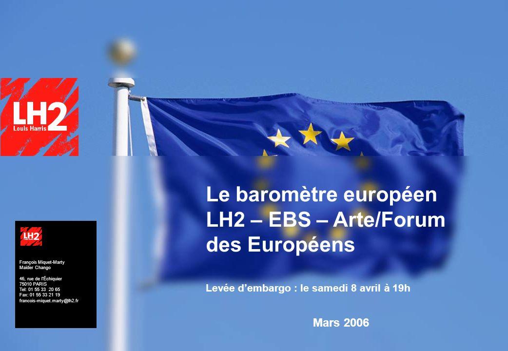 Le baromètre européen LH2 – EBS – Arte/Forum des Européens Levée d'embargo : le samedi 8 avril à 19h