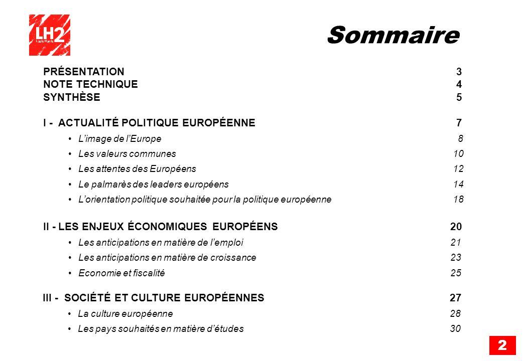 Sommaire PRÉSENTATION 3 NOTE TECHNIQUE 4 SYNTHÈSE 5