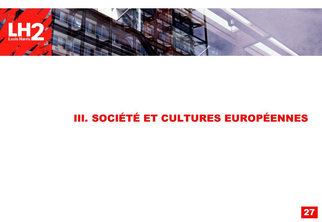 III. SOCIÉTÉ ET CULTURES EUROPÉENNES