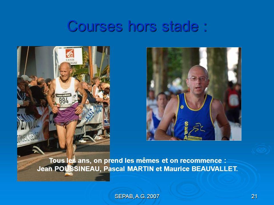 Courses hors stade :Tous les ans, on prend les mêmes et on recommence : Jean POUSSINEAU, Pascal MARTIN et Maurice BEAUVALLET.