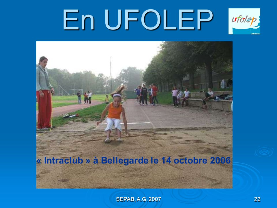 En UFOLEP « Intraclub » à Bellegarde le 14 octobre 2006