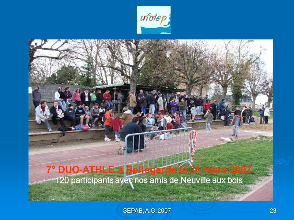 7° DUO-ATHLE à Bellegarde le 31 mars 2007 120 participants avec nos amis de Neuville aux bois