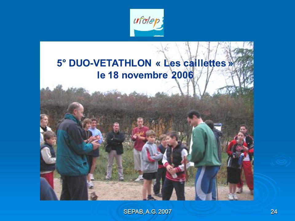 5° DUO-VETATHLON « Les caillettes » le 18 novembre 2006