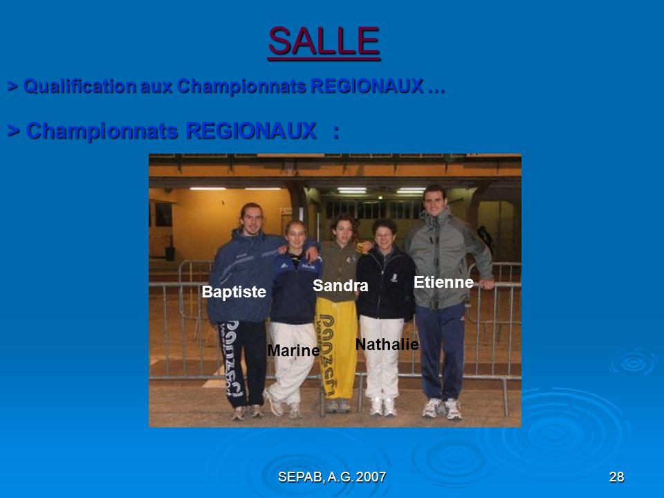 SALLE > Championnats REGIONAUX :