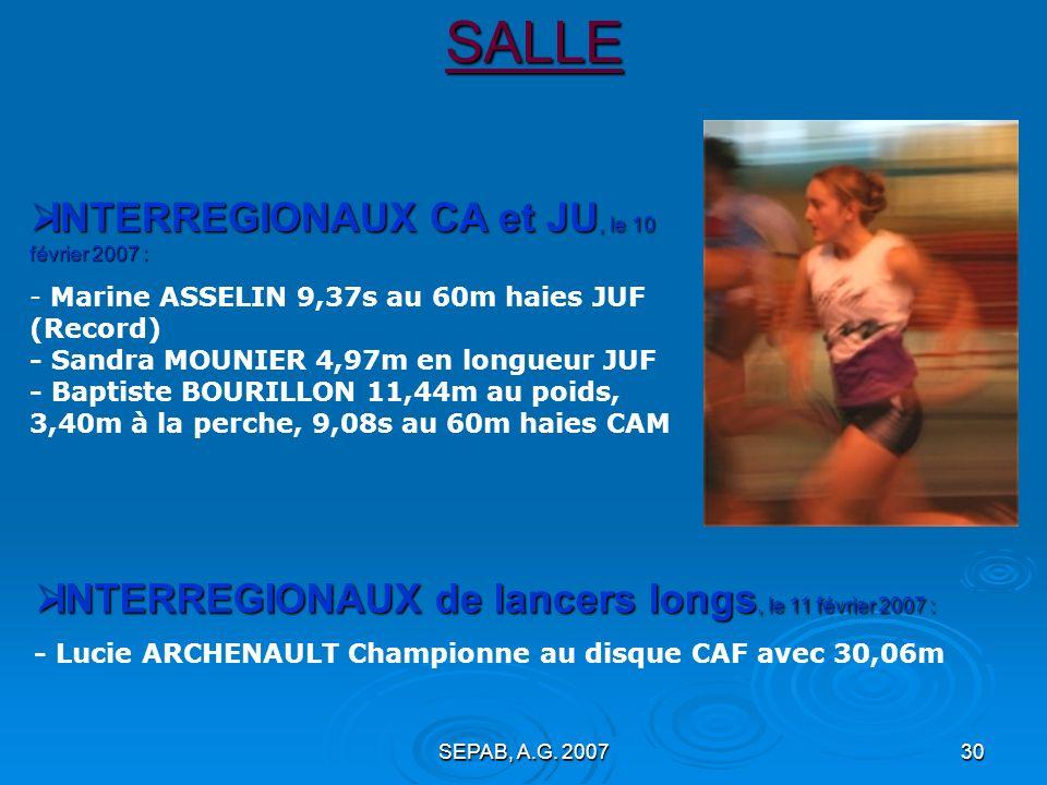 SALLE INTERREGIONAUX CA et JU, le 10 février 2007 :