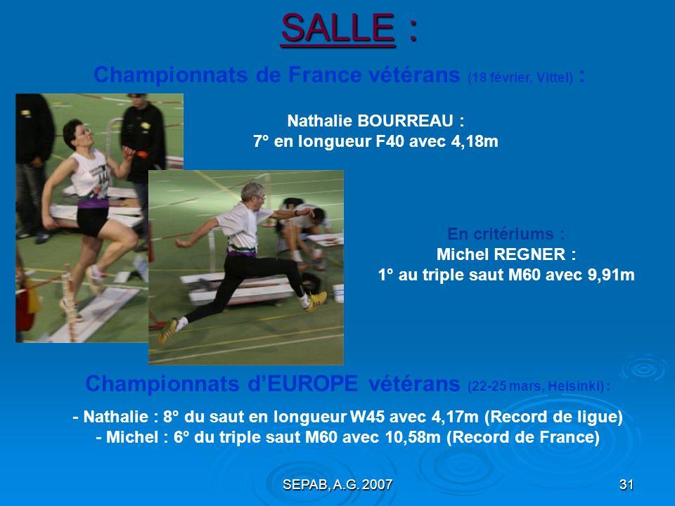 SALLE : Championnats de France vétérans (18 février, Vittel) :