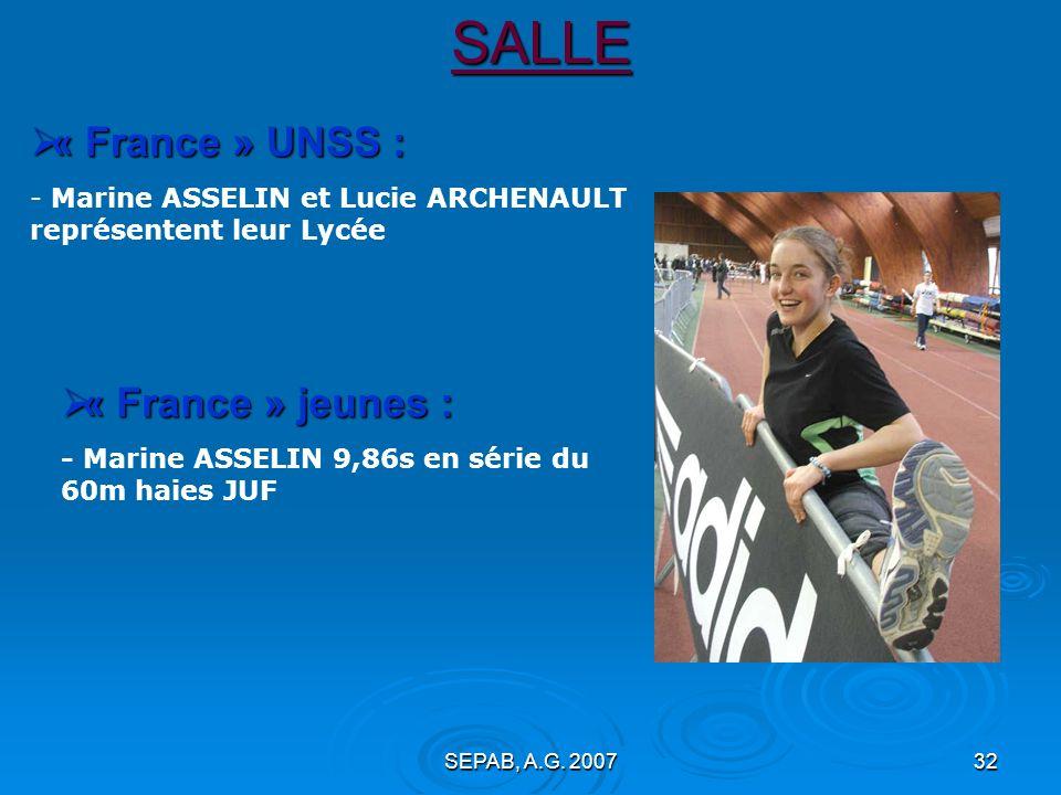SALLE « France » UNSS : « France » jeunes :