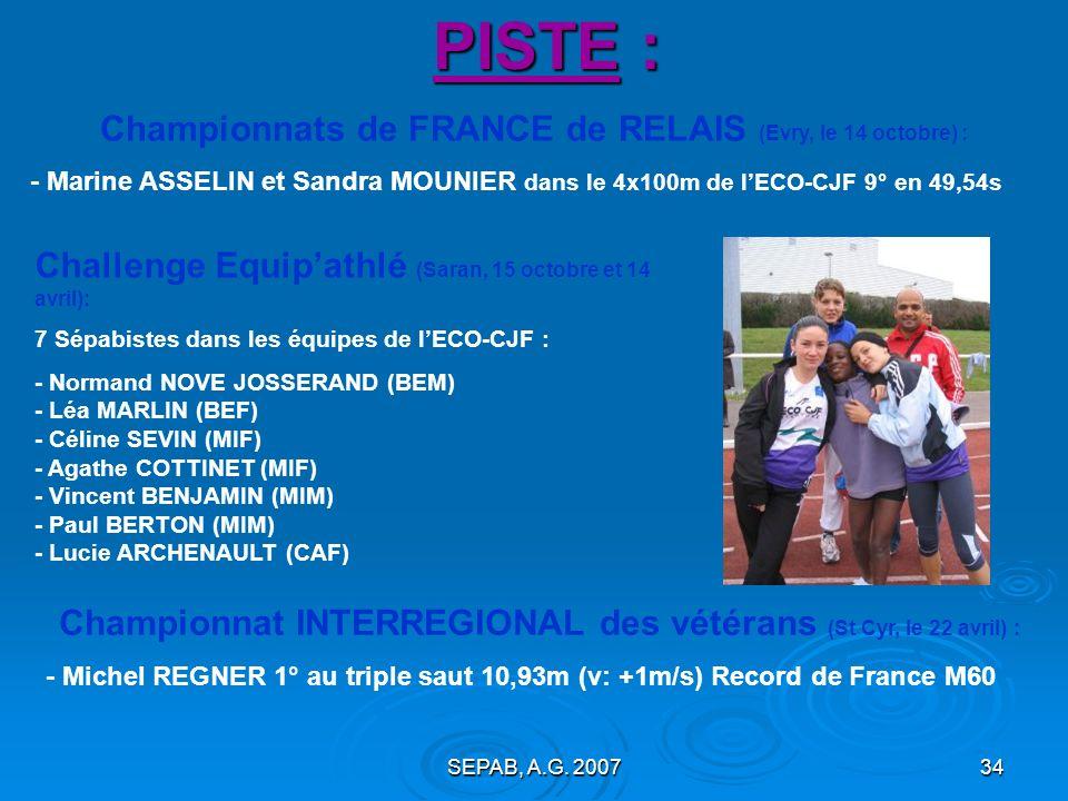 PISTE : Championnats de FRANCE de RELAIS (Evry, le 14 octobre) :