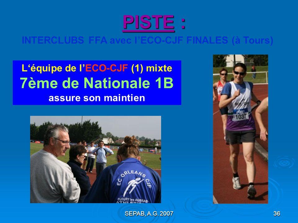 INTERCLUBS FFA avec l'ECO-CJF FINALES (à Tours)