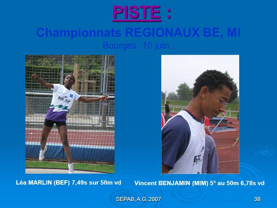 Championnats REGIONAUX BE, MI Bourges, 10 juin :