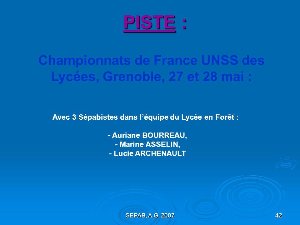 PISTE :Championnats de France UNSS des Lycées, Grenoble, 27 et 28 mai : Avec 3 Sépabistes dans l'équipe du Lycée en Forêt :