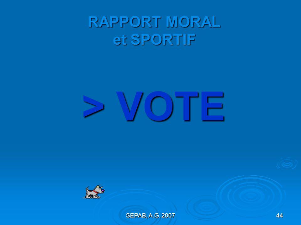 RAPPORT MORAL et SPORTIF