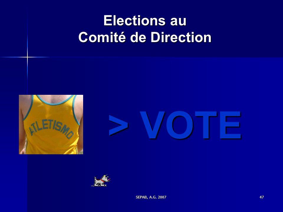 Elections au Comité de Direction