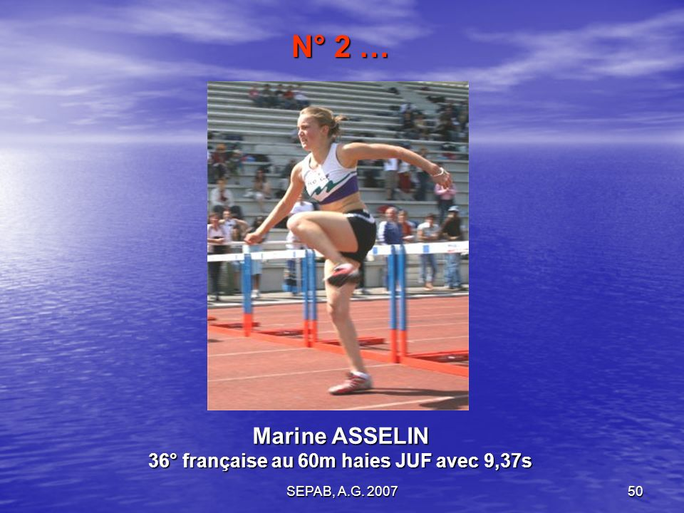Marine ASSELIN 36° française au 60m haies JUF avec 9,37s