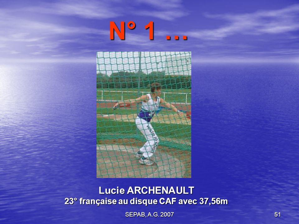 Lucie ARCHENAULT 23° française au disque CAF avec 37,56m