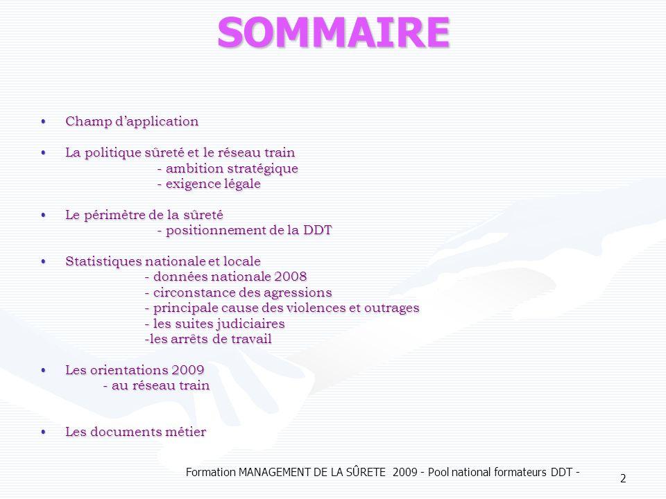 SOMMAIRE Champ d'application La politique sûreté et le réseau train