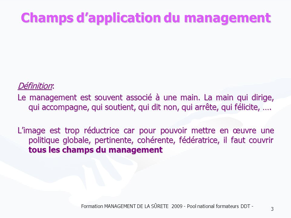 Champs d'application du management