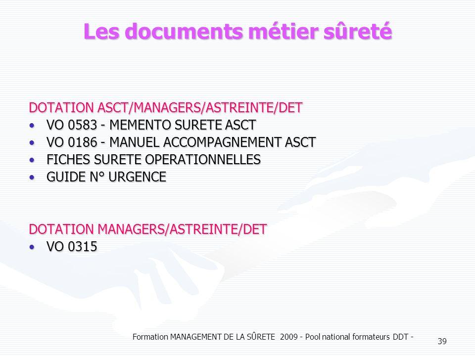 Les documents métier sûreté