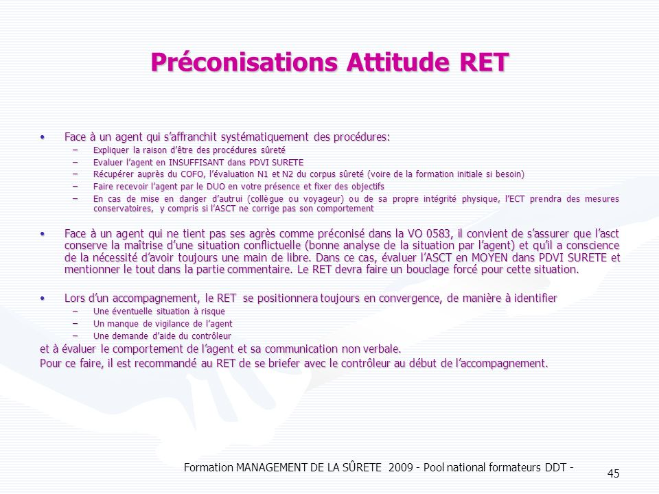 Préconisations Attitude RET
