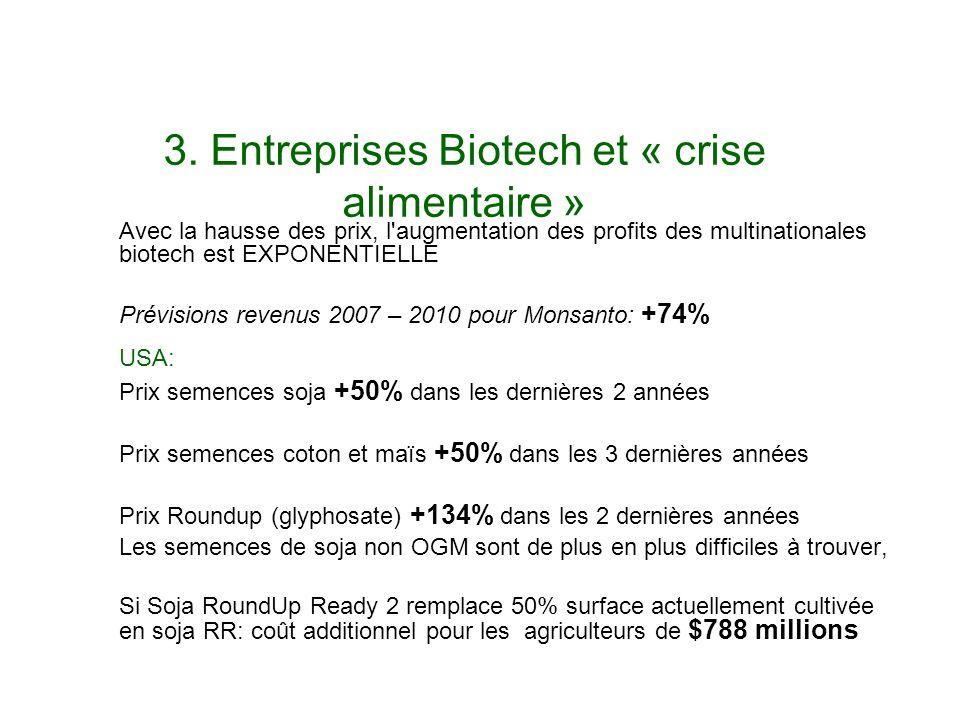 3. Entreprises Biotech et « crise alimentaire »