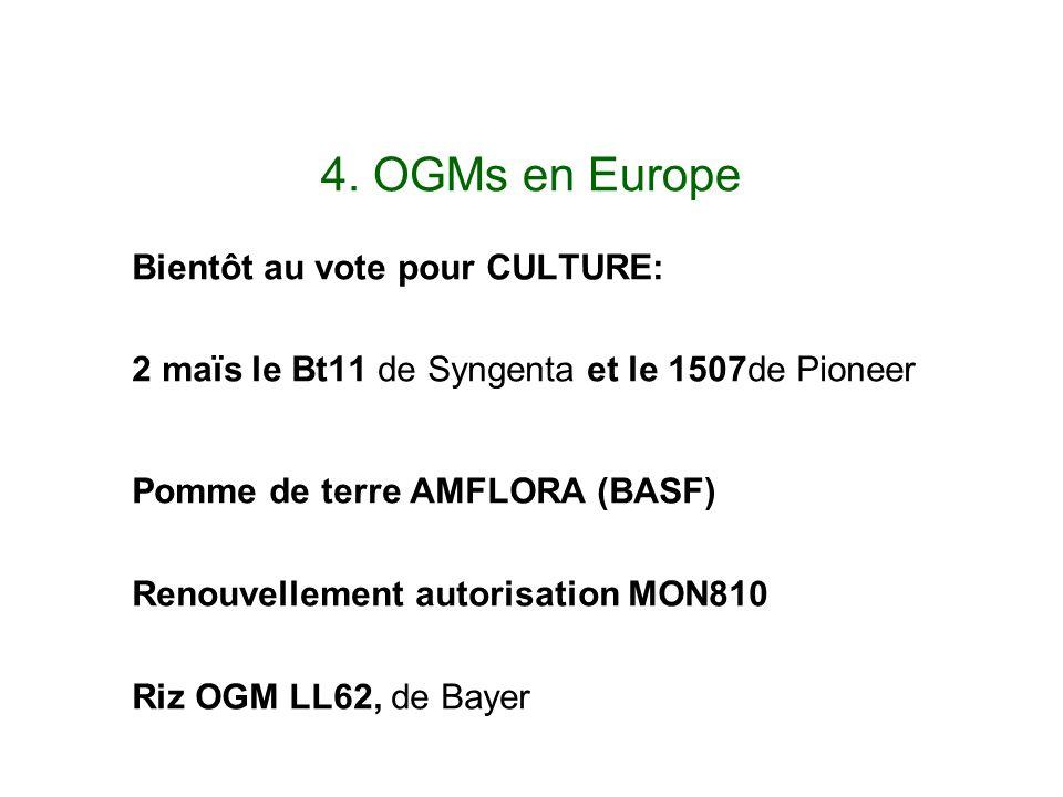 4. OGMs en Europe Bientôt au vote pour CULTURE: