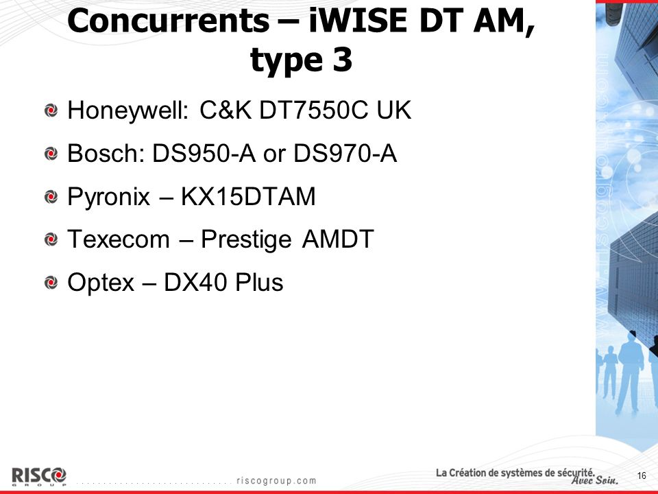 Concurrents – iWISE DT AM, type 3