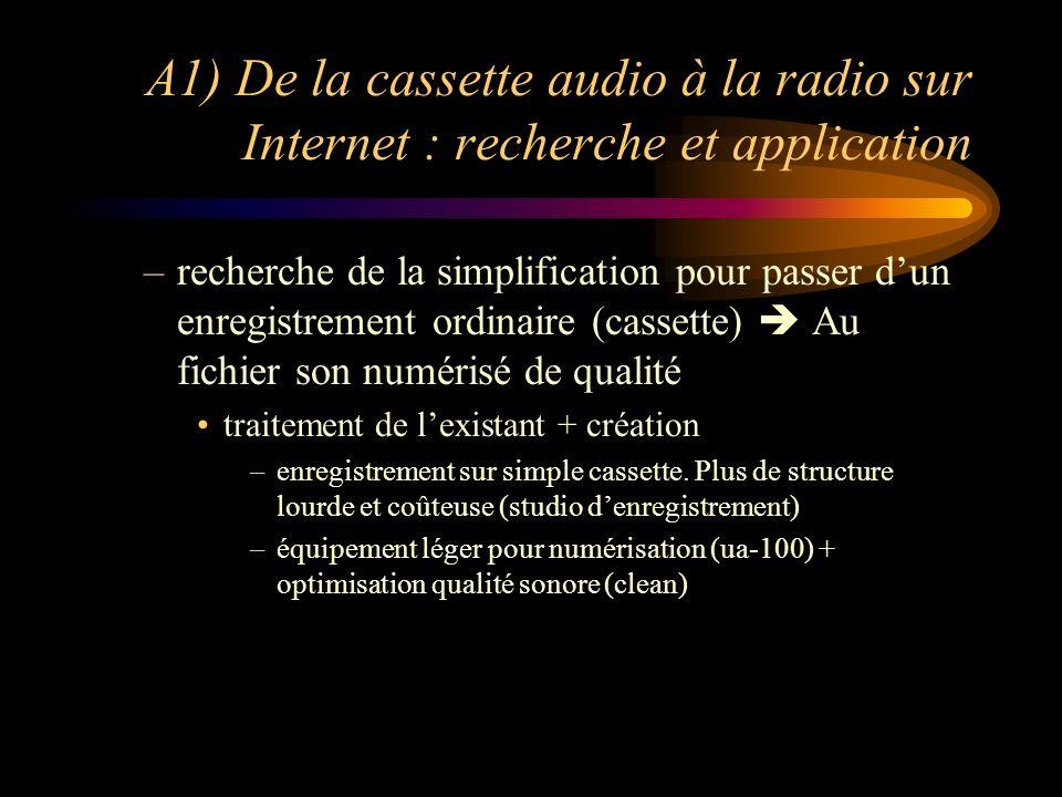 A1) De la cassette audio à la radio sur Internet : recherche et application