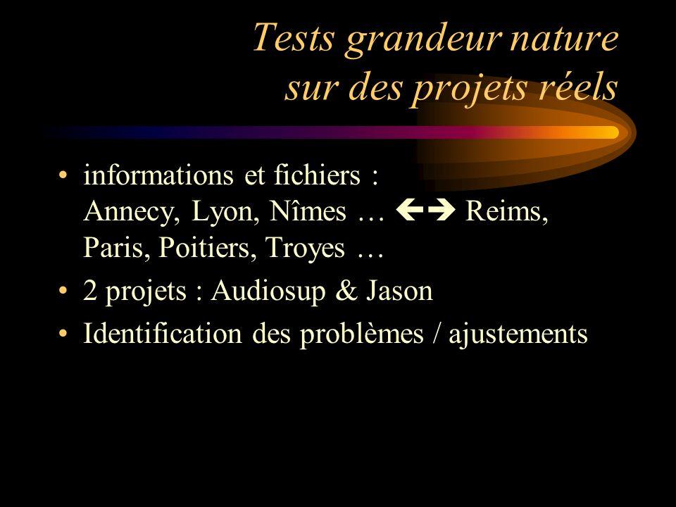 Tests grandeur nature sur des projets réels