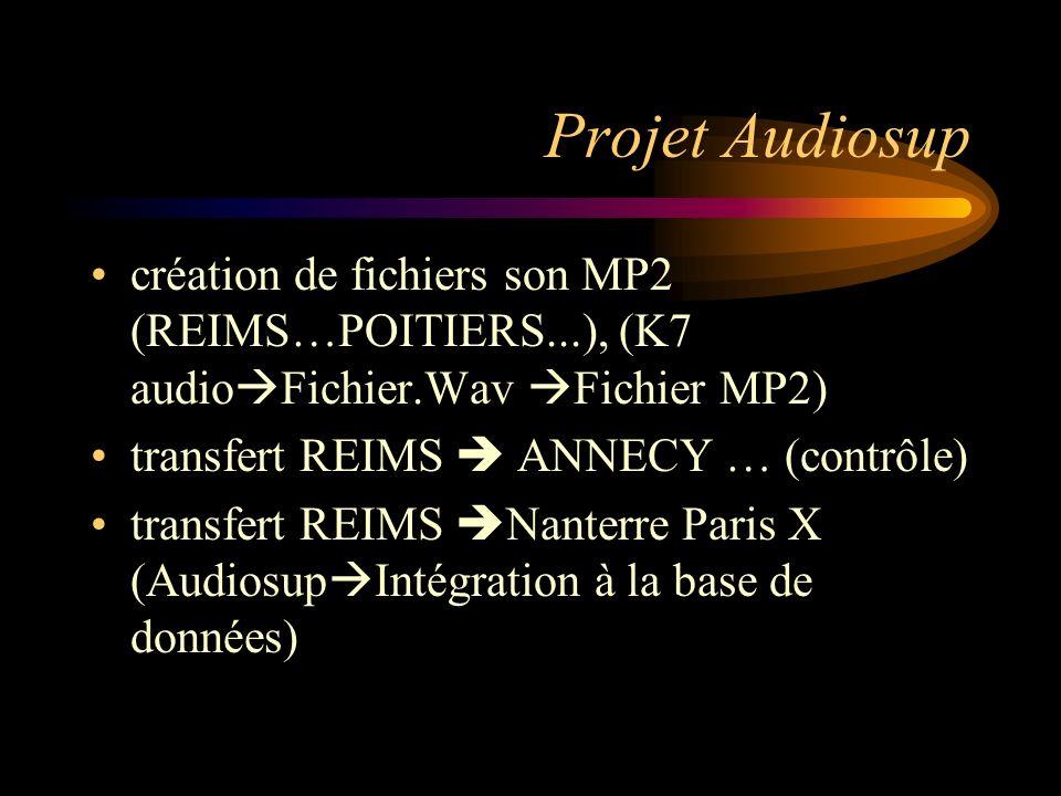 Projet Audiosup création de fichiers son MP2 (REIMS…POITIERS...), (K7 audioFichier.Wav Fichier MP2)