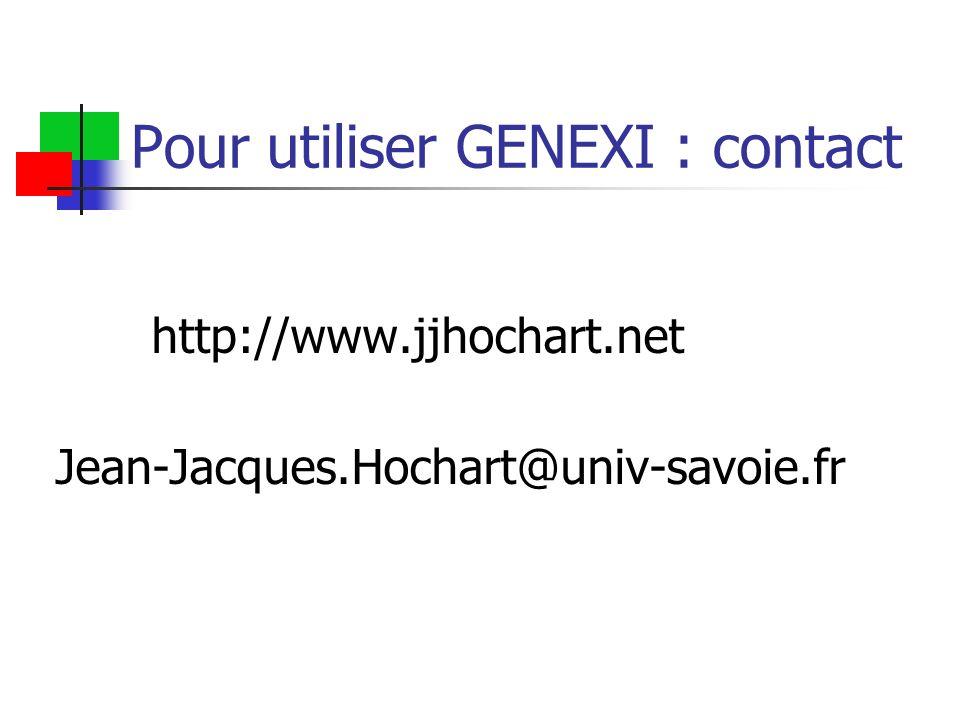 Pour utiliser GENEXI : contact