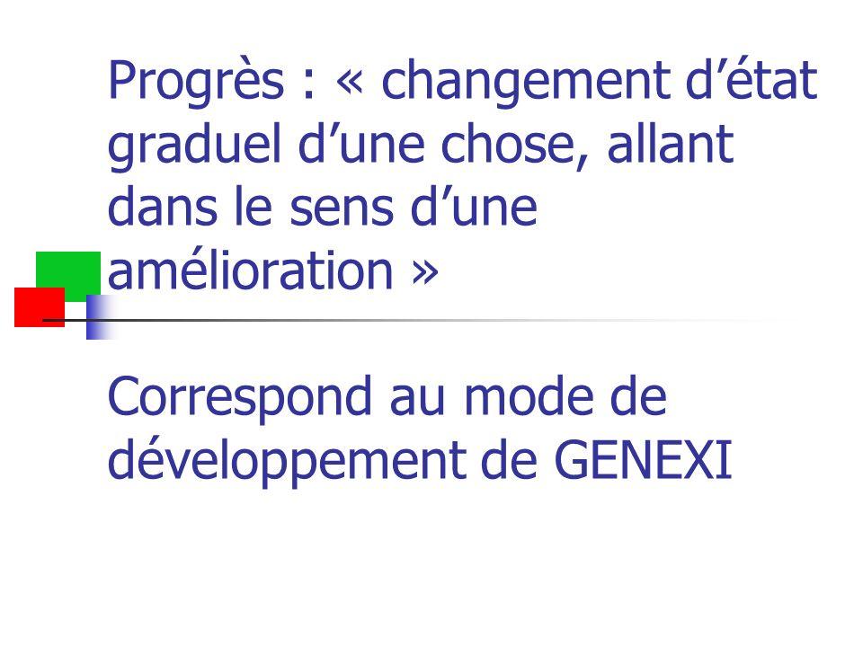 Progrès : « changement d'état graduel d'une chose, allant dans le sens d'une amélioration » Correspond au mode de développement de GENEXI
