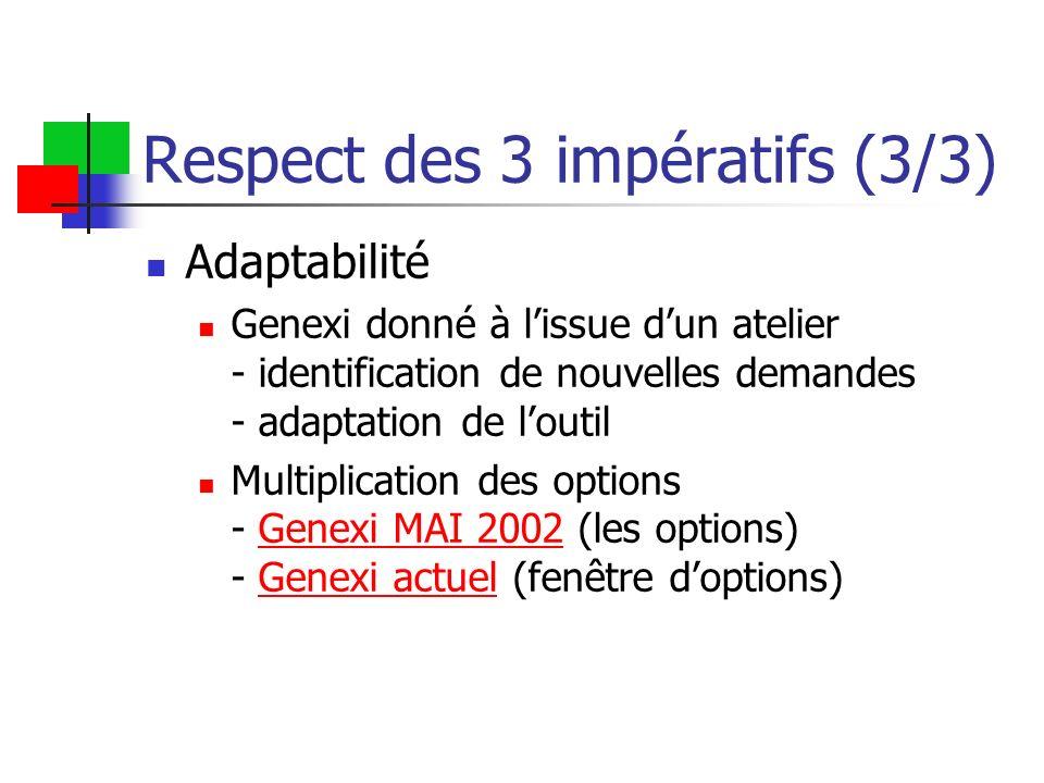Respect des 3 impératifs (3/3)