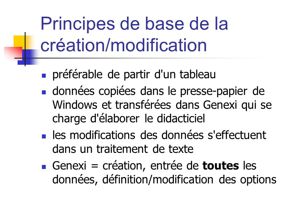 Principes de base de la création/modification