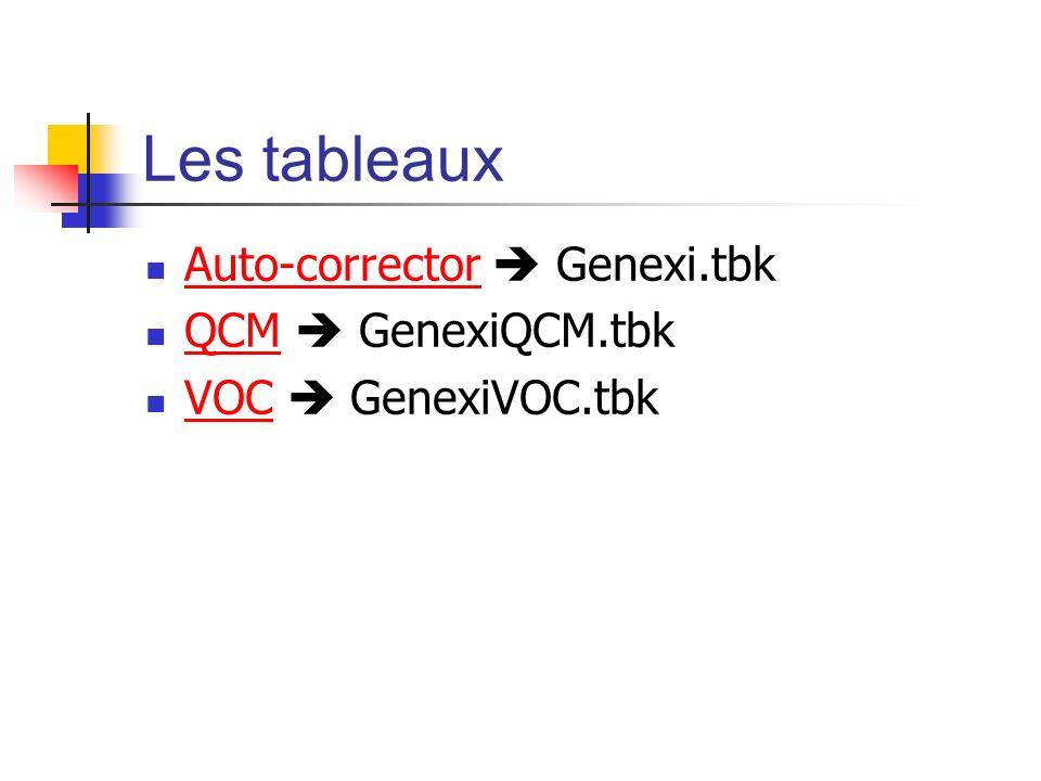 Les tableaux Auto-corrector  Genexi.tbk QCM  GenexiQCM.tbk