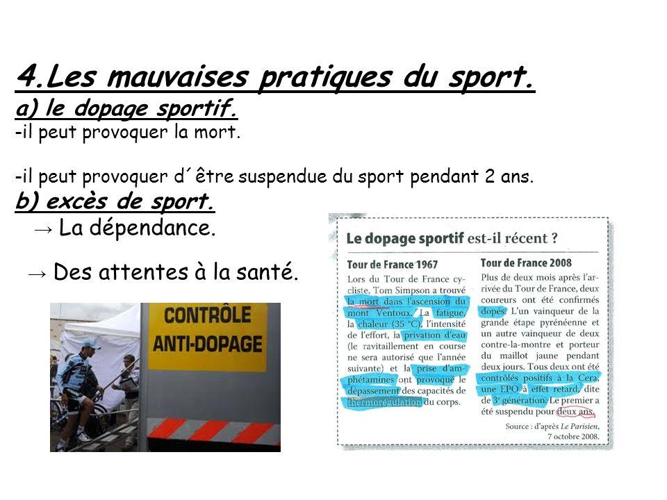 4. Les mauvaises pratiques du sport. a) le dopage sportif