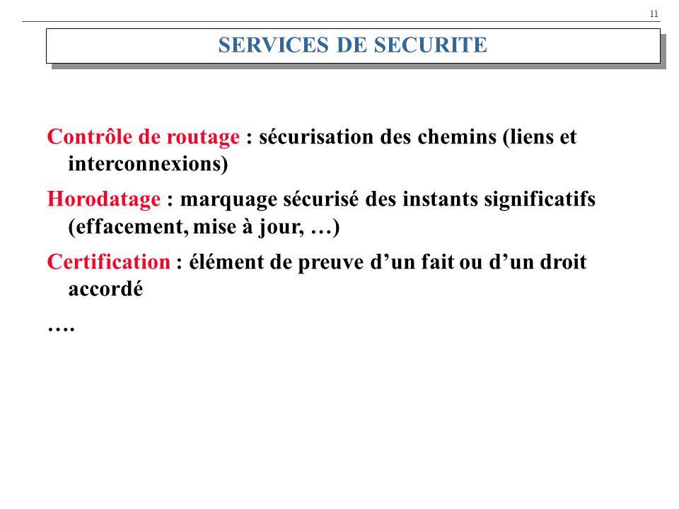 SERVICES DE SECURITE Contrôle de routage : sécurisation des chemins (liens et interconnexions)